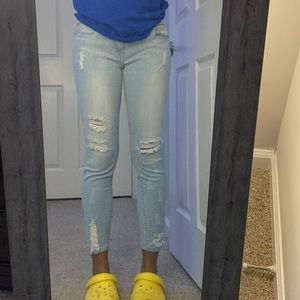 Ross light blue ankle cropped ripped skinny jeans